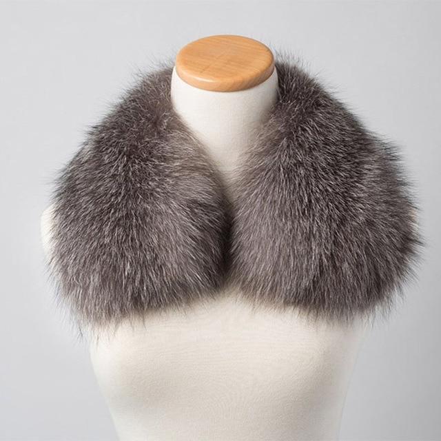 Real Silver fox fur Collar For Outwear Coat Fox Fur collar generous Natural Fur Scarf Real fur Collars Winter Warm of men S#11