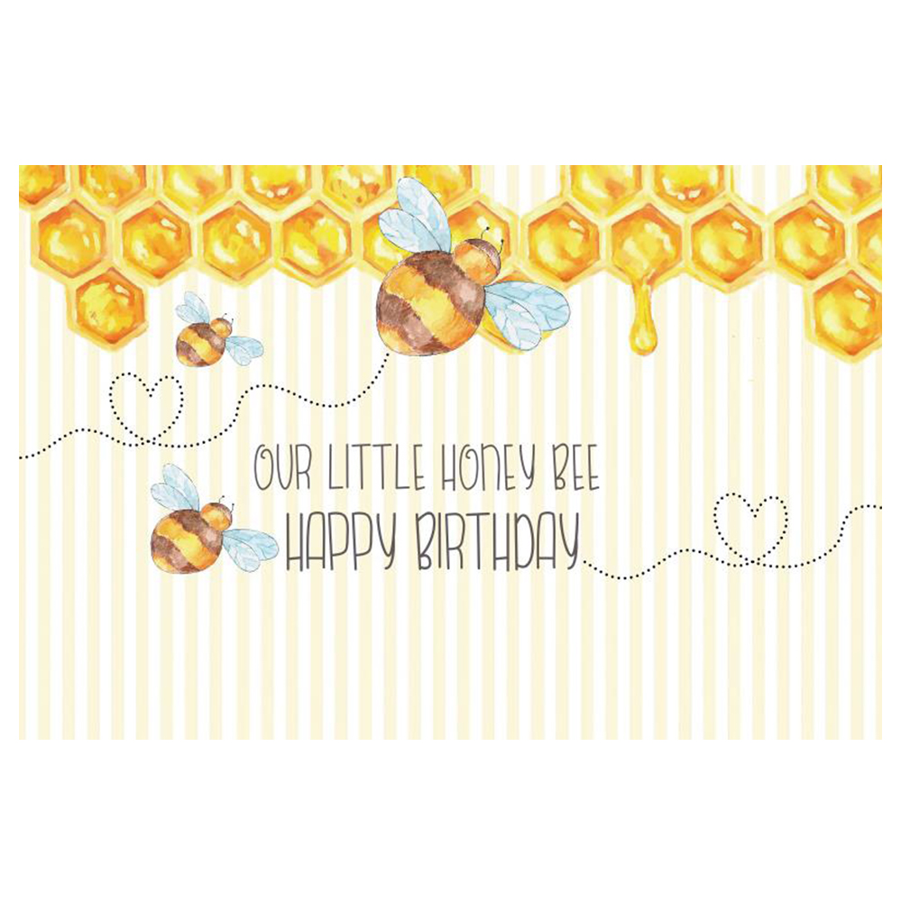 Laeacco Little Bee Honey Stripes Baby Birthday Party Photography Background Customized Photographic Backdrop For Photo Studio