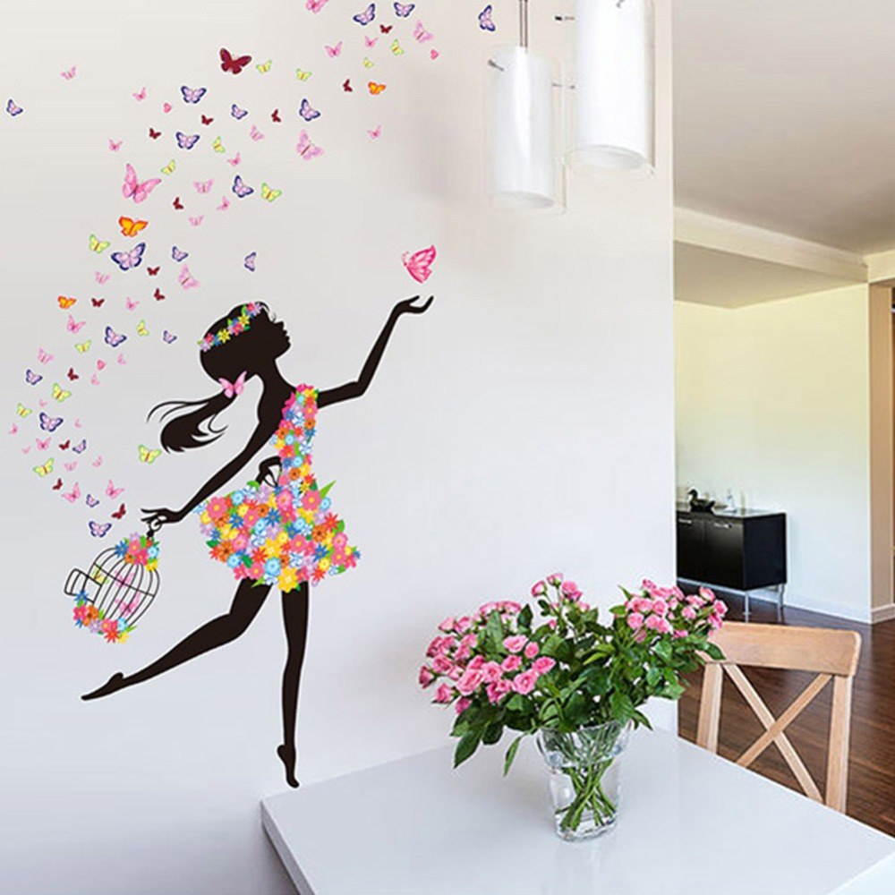 Aliexpress com Buy Butterfly Flying In Dance Girl bedroom stickers Pastoral  Style Wall Stickers Original Design. Dancing In Bedroom