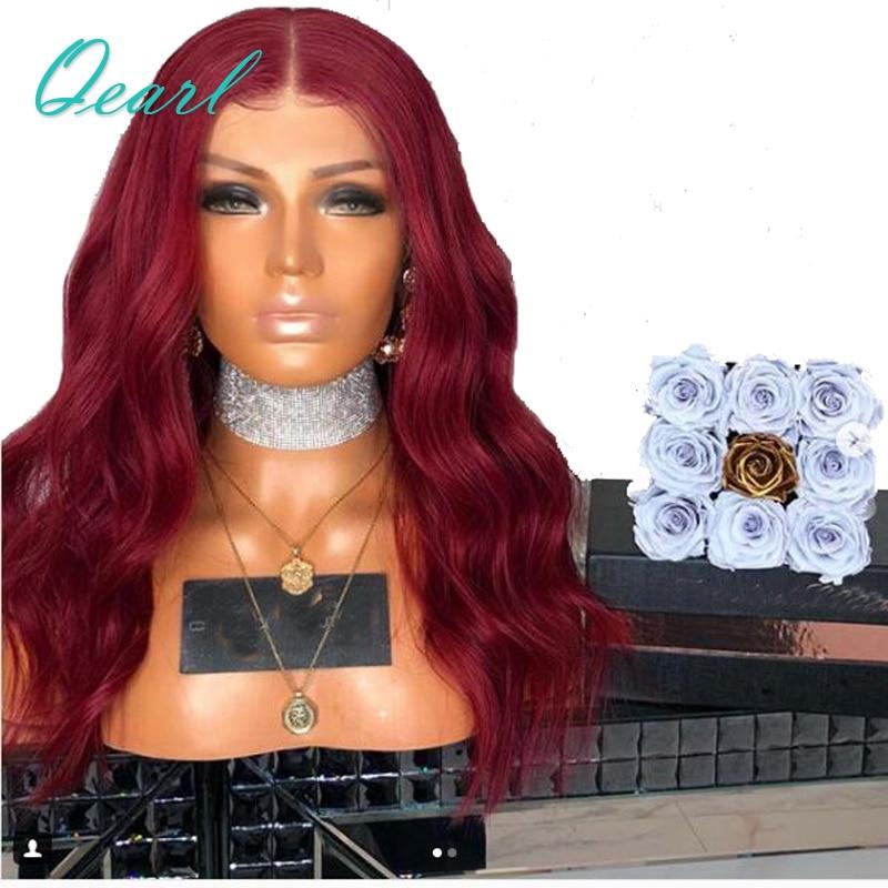 130% Densité Foncé Rouge Ondulés Full Lace Perruques de Cheveux Humains Avec Bébé Cheveux Transparent Dentelle Pré Pincées Moyen Partie Remy cheveux Perruque Qearl
