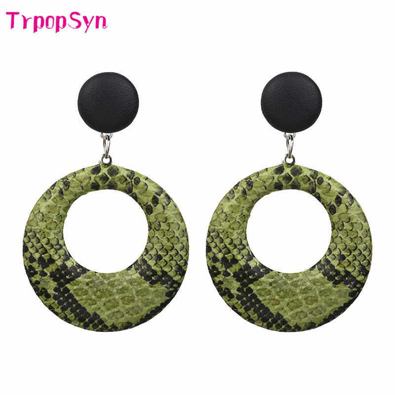 New 2019 Oversize Vintage Drop Earrings for women large geometric statement earrings Snake Skin pendant earrings fashion jewelry