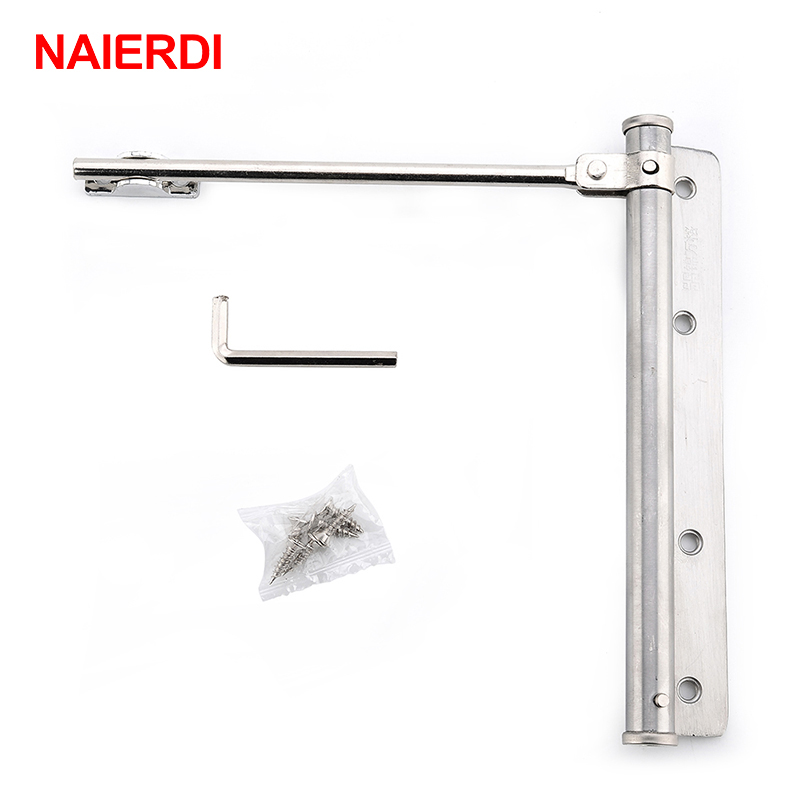 NAIERDI Adjustable Door Closer Stainless Steel Automatic Spring Latch Hinge For Home Office Fire Rated Door Furniture Hardware