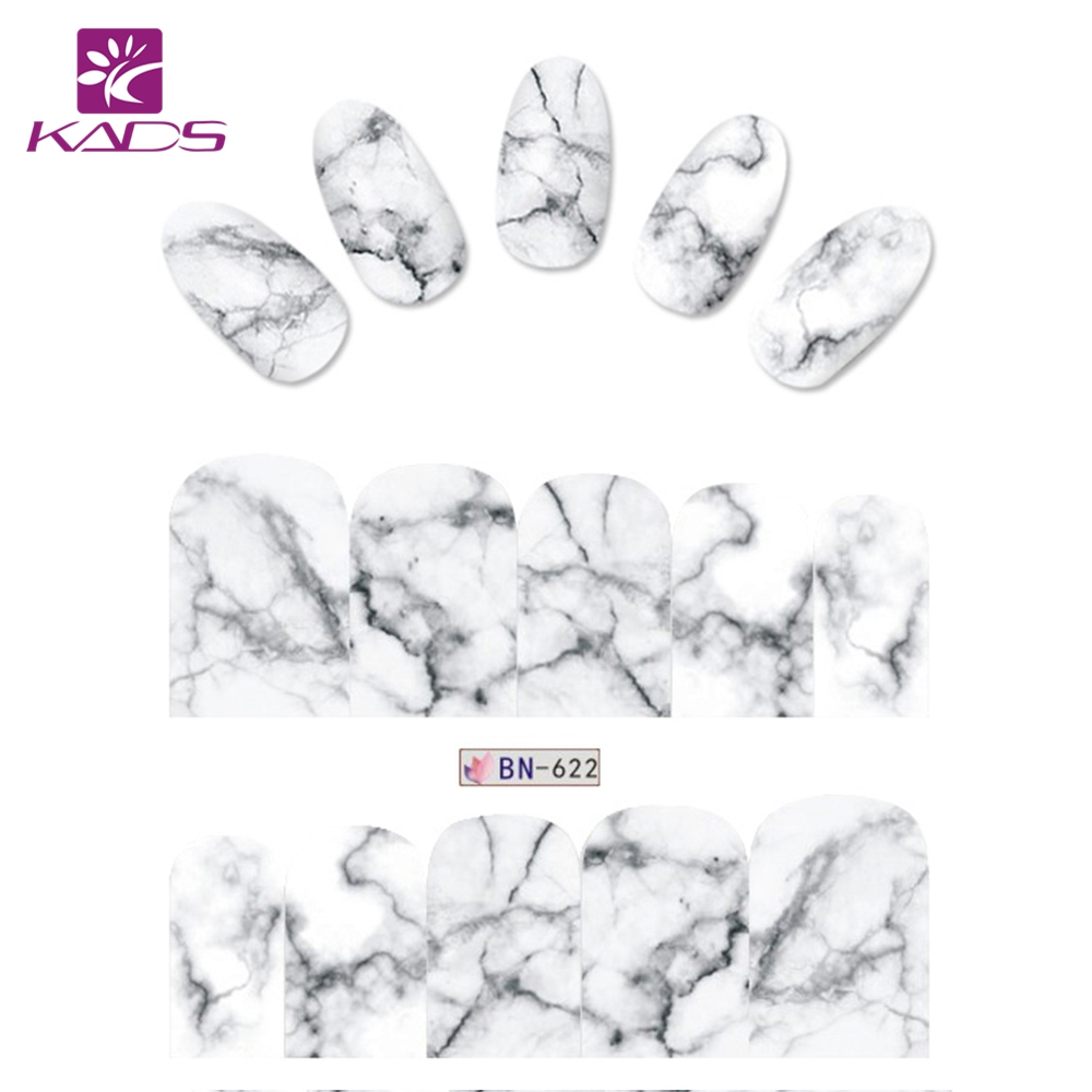KADS BN-622 Marble design Water Transfer 1pc Nail Stickers Nail Decorations Nails Foil Manicure DIY Decals Polish Tips 10 sheets lot charming nail stickers full wraps flowers water transfer nail decals decorations diy watermark manicure tools