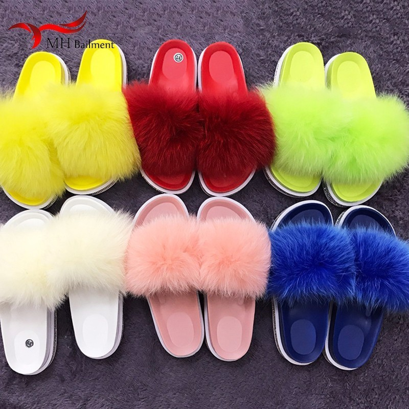2019 Fox wool slippers real fox fur home non-slip wear-resistant slippers outside wearing beach shoes women new slippers summer