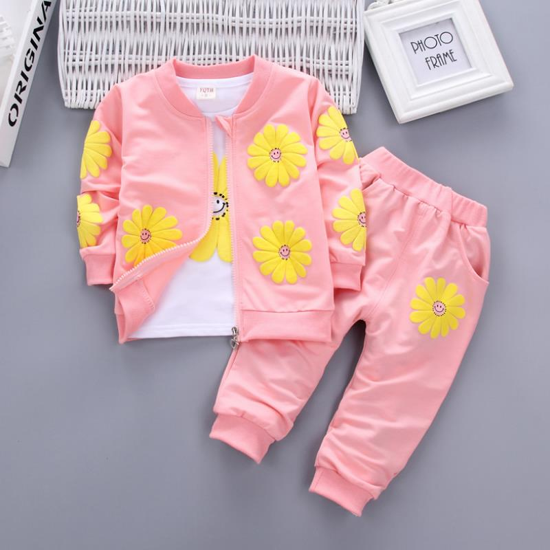 2021 Real Roupas Infantis Children's Garment Spring And Autumn New Girl Pure Cotton Printing Three-piece Child Suit 0-4y 4