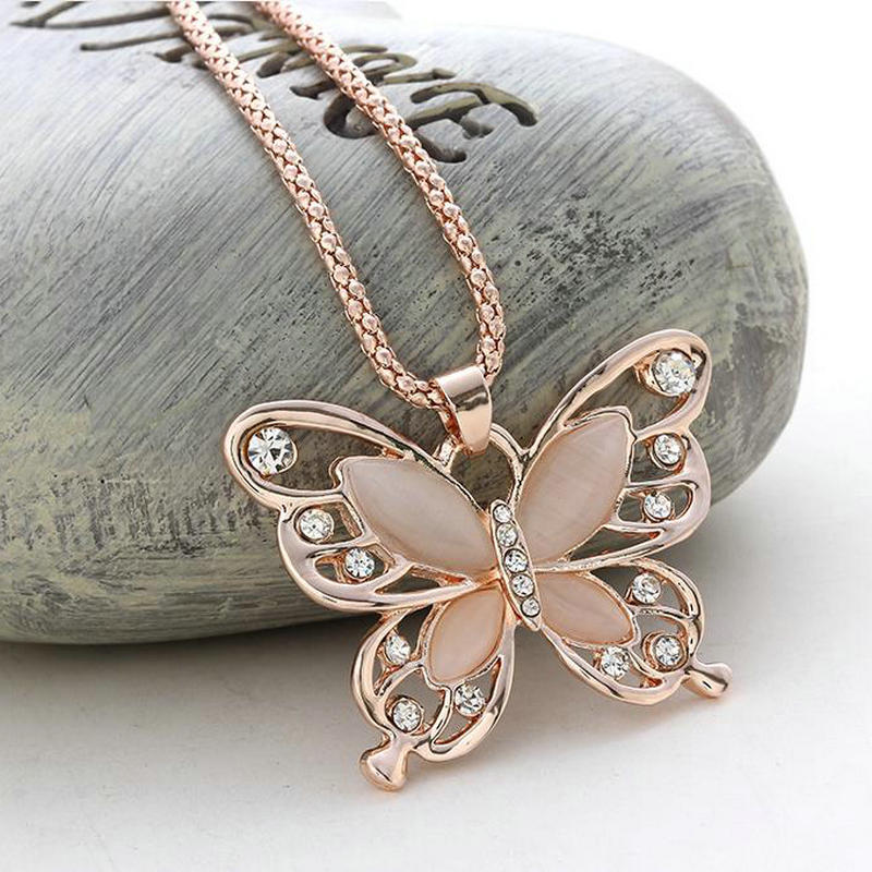 Rose Gold Acrylic Crystal 4CM Big Butterfly Pendant Necklaces