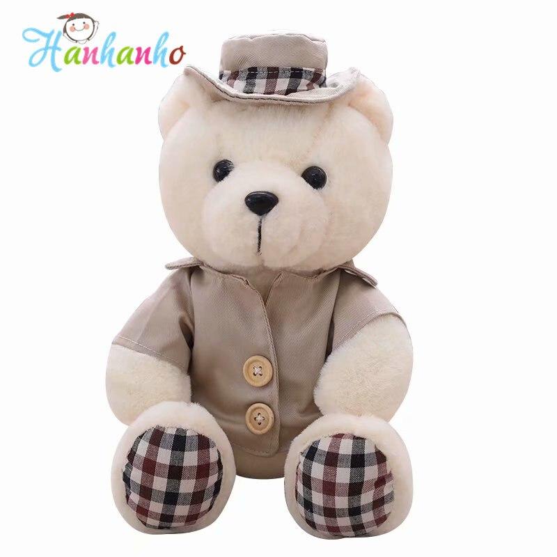 25 см Симпатичный сидящий Медвежонок Teddy Bear Плюшевые игрушки чучело медведя с Одежда для детей подарок на день рождения детские мягкие игруш...