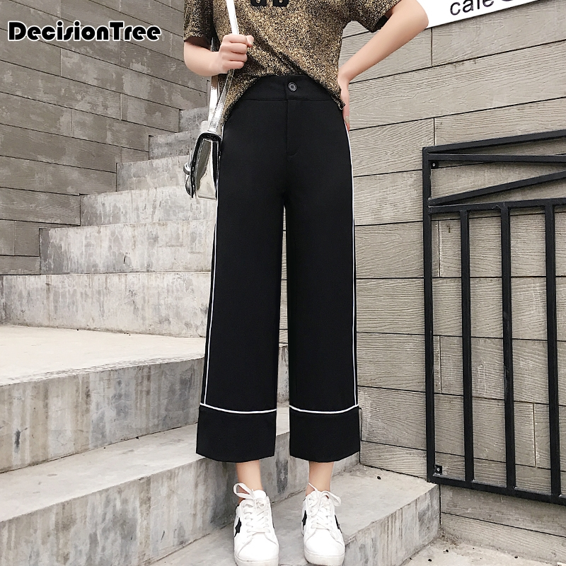 2019 new women pants wide leg pants female trousers full length high waist loose fit drawstring three available 1