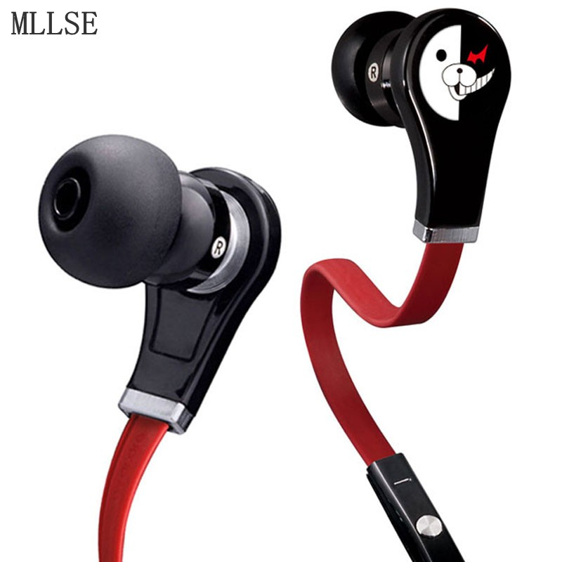 MLLSE Anime Danganronpa In-ear Earphones 3.5mm AUX Portable Wired Stereo Earbud Gaming Headset for Iphone Samsung Xiaomi MP3 PS4 5mm foam memory earbud tip for in ear earphones 10pcs