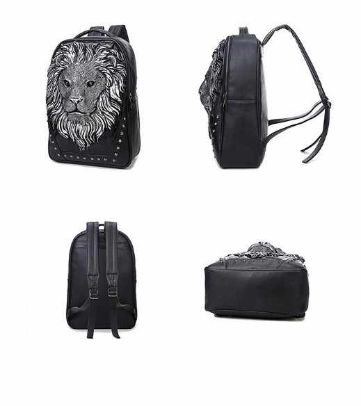 faa5b0e55d ... unisex casual backpack Lion head rivet computer bag 3D animal prints  beast Relief bag