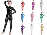 Sexy Black Female Faux Leather Catsuit PVC Latex Bodysuit Front Zipper Open Crotch Stretch Clubwear Erotic Pole Dance Lingerie