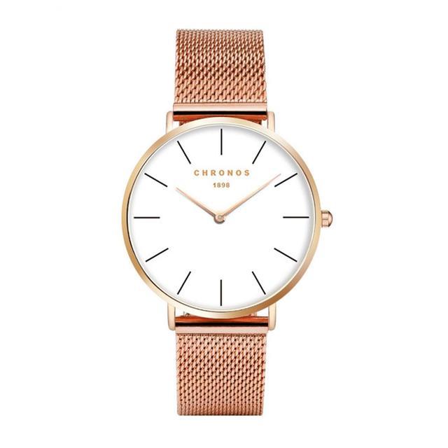 033dc6c0e93 CHRONOS Mulheres Marca de Moda Pulseira de Aço Inoxidável Relógios de Pulso  Das Senhoras Vestido de