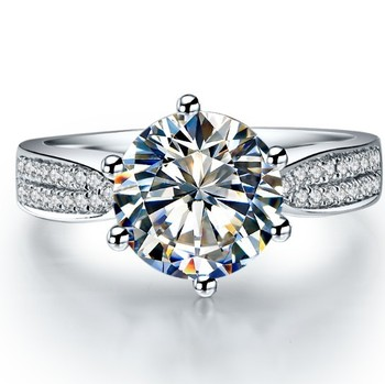 Solid Platinum Side gem studded 2CT Moissanite Diamond Engagement Ring 1