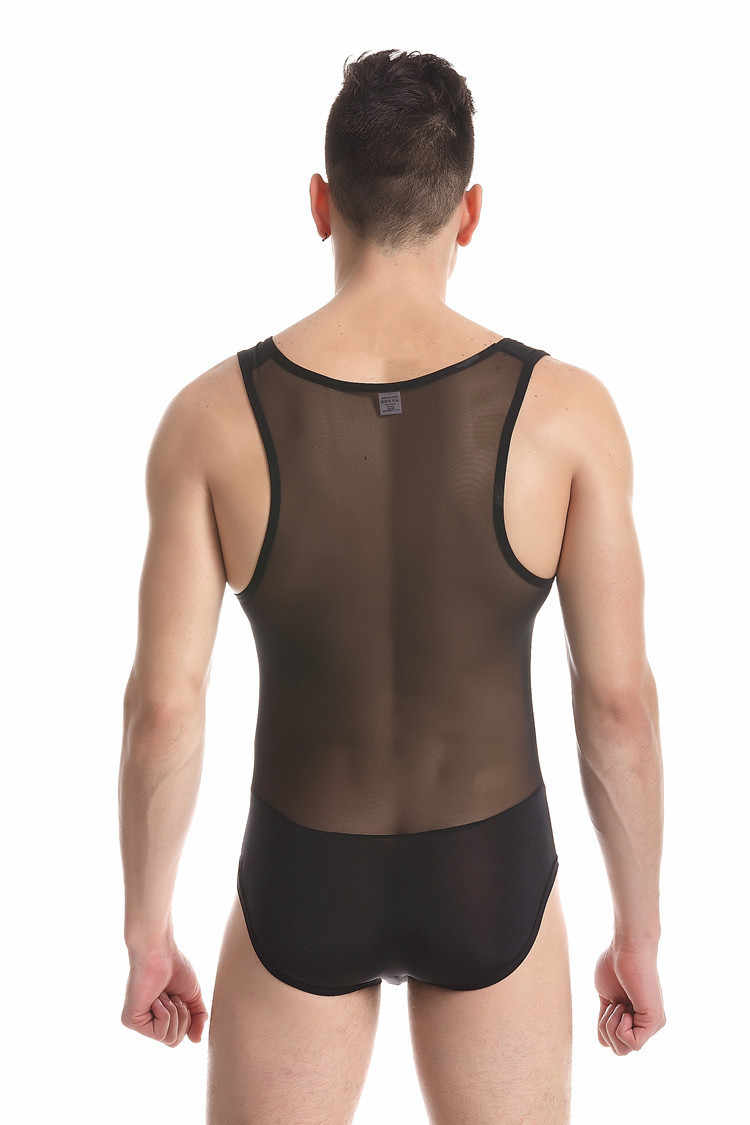 4f4727c82578 ... Sexy Mens Body Suit Transparent Mesh Erotic Sheer Teddies Bodysuit Man  Fetish Body Shaper One Piece