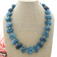 N050914 20'' Faceted Apatite Nugget Crystal Necklace