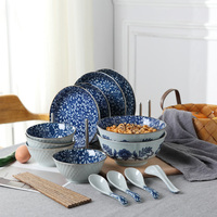 Japanese style Household Bowl Dishes Western Dishes Combination 18 Pieces Ceramic Tableware Set Hand Painted Ceramic