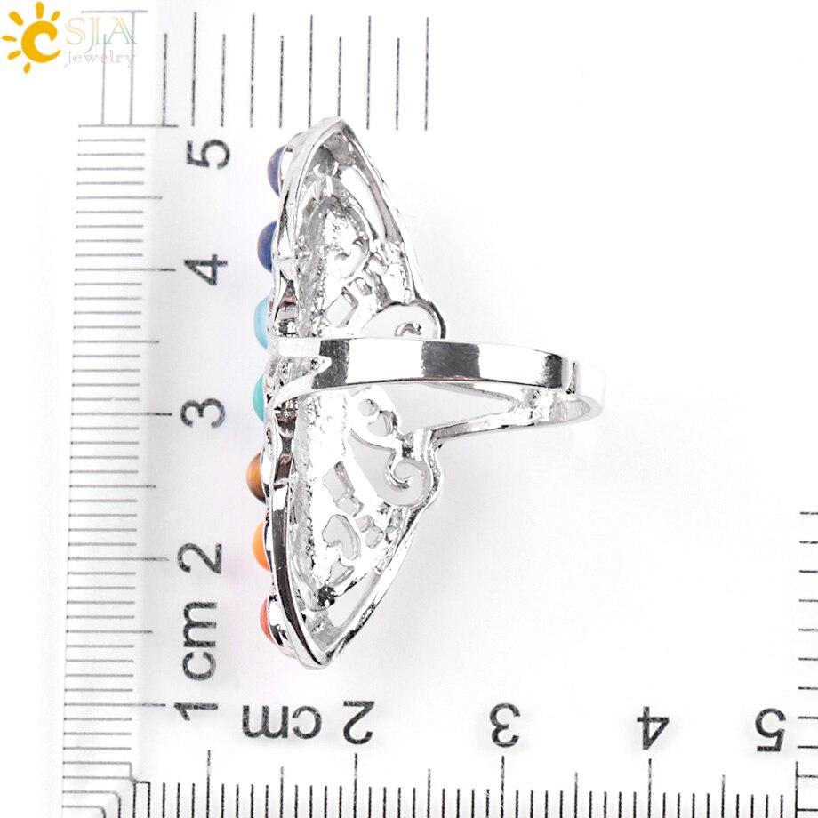 CSJA 7 Chakra Batu Manik Jari Cincin Reiki Balance Meditasi - Perhiasan fashion - Foto 6