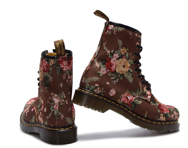 ФОТО Fashion Retro Printing spring&Autumn ankle boots flat heel canvas shoes woman platform Martin boot