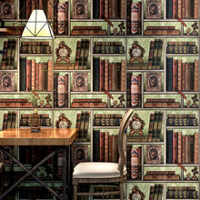 цена на 3D space creative bookshelf wallpaper library study American Retro European murals cafe Chinese TV background wall wallpaper