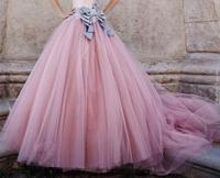 Lovely Pink Ball Gown Floor Length Fairy Princess Tulle Skirt Bow Sash Bridal Long Ruched Bouffant Dresses for Women Soft Gauze