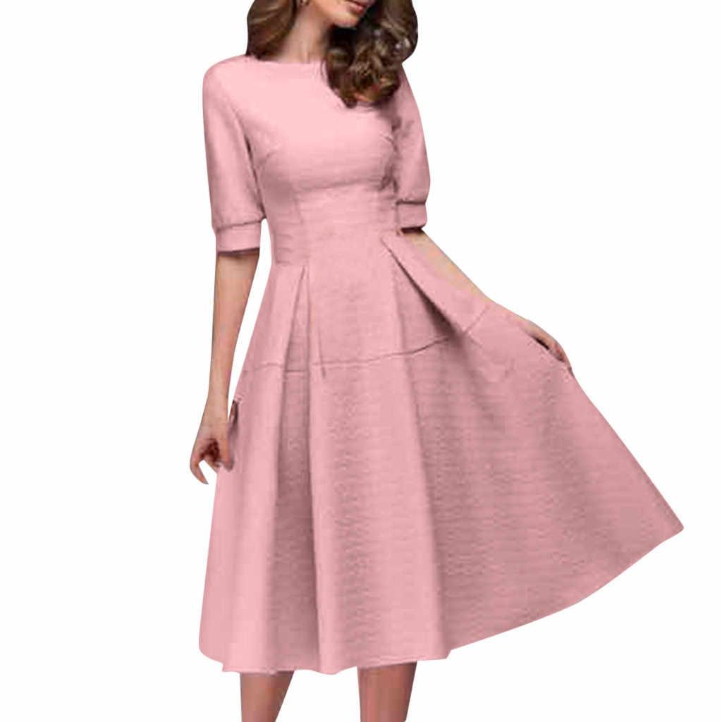 Gaun Musim Panas 2019 Setengah Lengan O Leher Kerja Kantor Garis Pertengahan Betis Wanita Gaun Elegan Streetwear Vintage Vestidos Verano 2019