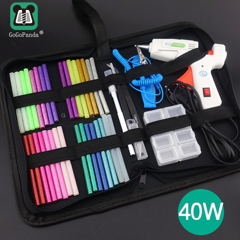 Free Shipping 40W Glue Gun Set Electric Heat Hot Melt Crafts Repair Tool Professional DIY 110-240V 40W Gift