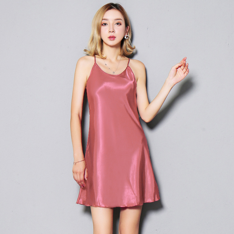 94a3332664 2018 Night Gown women Sexy Silk Slipdresses Ladies night wear lingerie plus  size Primer Strap Gown Sleeping Dress Sleepwear