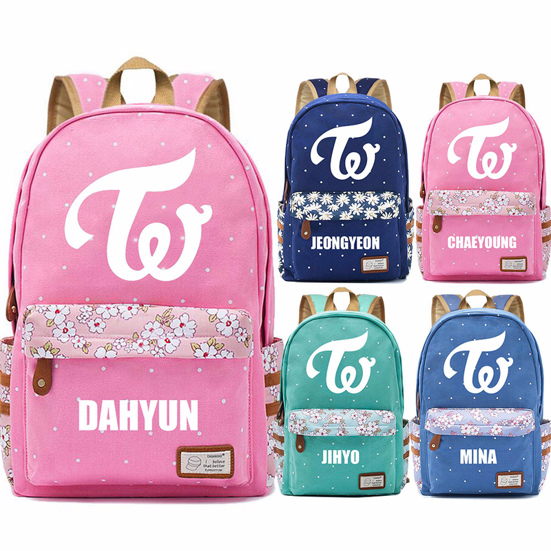 2019 New Hot Fashion Twice Flower Dot Boy Girl School Bag Women Bagpack Teenagers Schoolbags Canvas Femme Backpack image