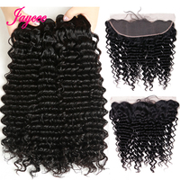 Jaycee Peruvian Deep Wave Bundles With Frontal Ear to Ear Closure Deep Curly 13x4 Lace Frontal Closure With Bundles Remy 4 Pcs