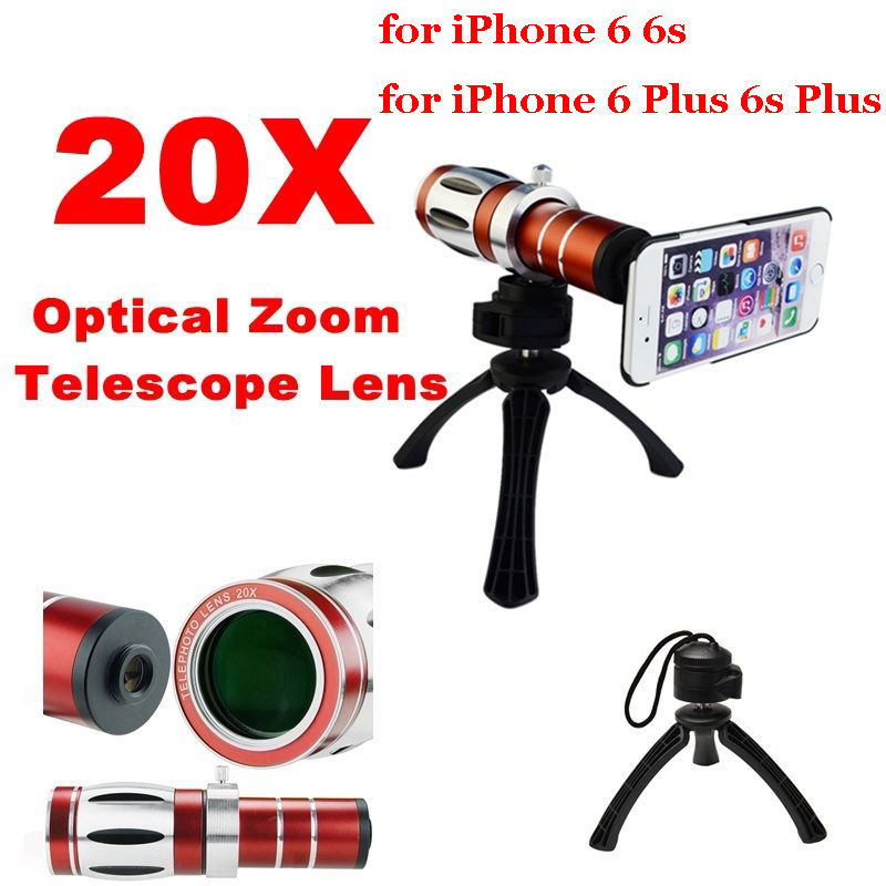 20X Super Zoom Telephoto Telescope Phone Lens+Cover Case+High-end Tripod For iPhone 6 6s 7 Plus/For Samsung S8 S8 Plus universal 30x optical zoom telescope camera lens clip mobile phone telescope for iphone7 for samsung for vivo for huawei xiaomi