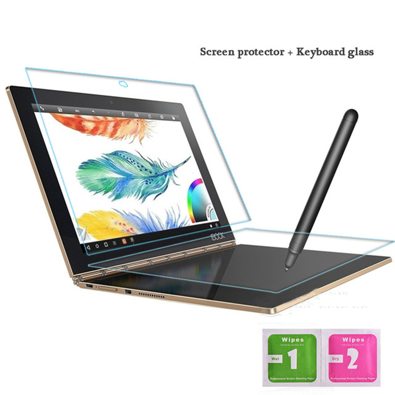For Lenovo Yoga Book 10.1 Inch Tempered Glass + Keyboard Glass Protective Full screen Transparent 2.5D Edge 9H Hardness premium tempered glass flat edge screen protector for iphone 5 transparent