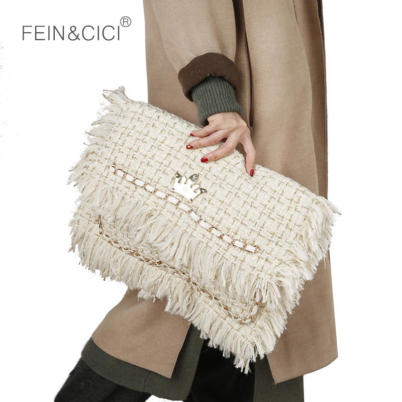 Day Clutches Tassels Party Bag Women Large Big Pillow Tweed Bag Handbag 2018 New Winter Warm Bag Spring Drop Shipping Wholesale