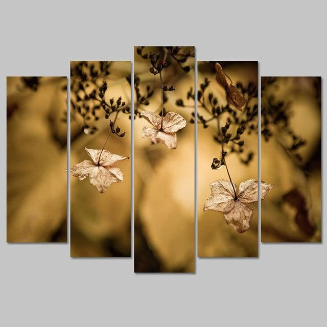Retro 5 pcs flower still life Defoliation Leaves decoration canvas ...
