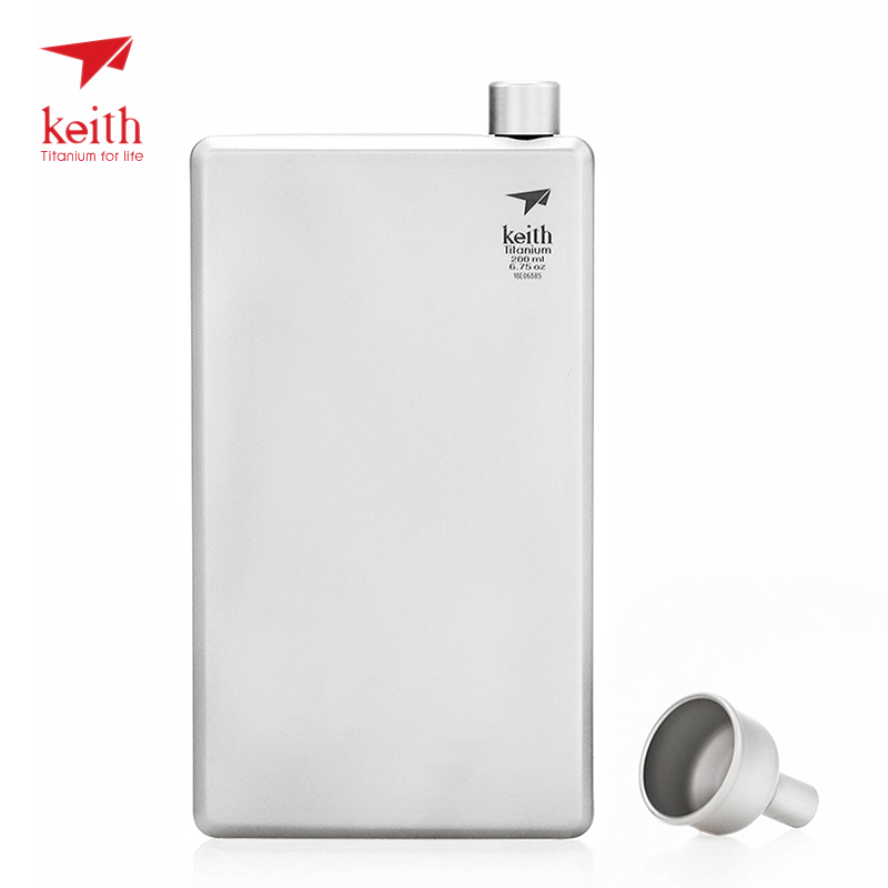 Keith Outdoor 200ml Titanium Hip Flask Pocket Alcohol Whiskey Flask Wine Bottle Drinking for Camping Picnic