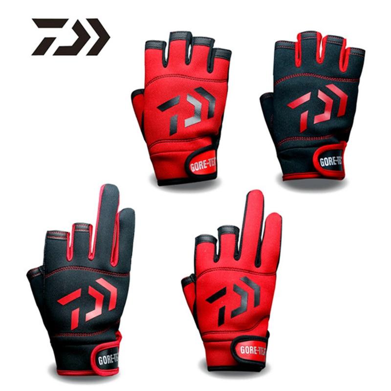 1Pair DAIWA Anti-Slip 3 Fingers Cut Fishing Gloves Waterproof 5 Fingers Cut Leather PU Fishing Glove Hunting Gloves