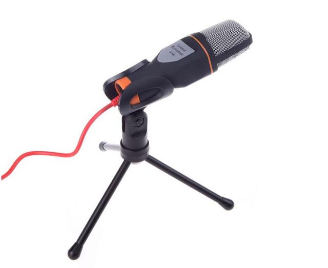 New Arrival Black Wired Stereo Condenser Microphone with Black Holder Clip for Chatting Singing Karaoke PC Laptop SF-666