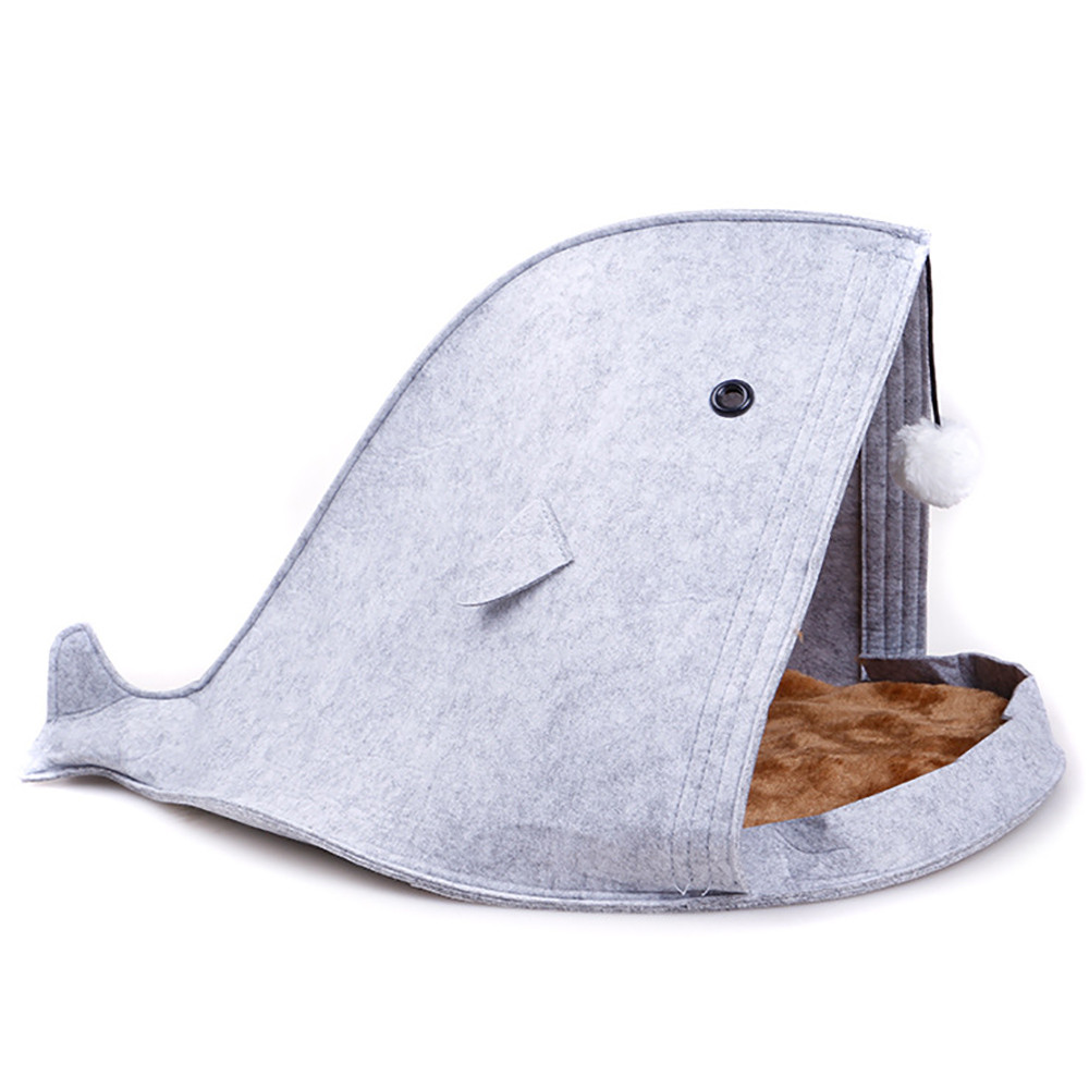 Newest 2 color Pet Dog Dual Use Convenient Portable Shark Shape Cute Dog Beds Warm Soft Foldable Dog House F901 7
