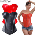 Womens Faux Leather Waist Trainer Corsets And Bustiers for Weight Loss Steampunk Clothing Corset Overbust Gothic Sexy Lingerie