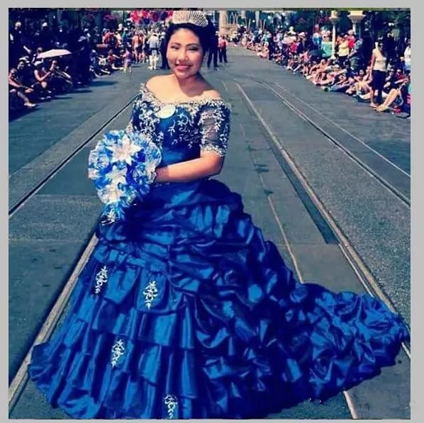 US $163.18 18% OFF|Royal Blue Plus Size Quinceanera Dresses Satin Ball Gown  Girls Pageant Dresses Short Sleeves Beads Ruched Graduation Gowns-in ...