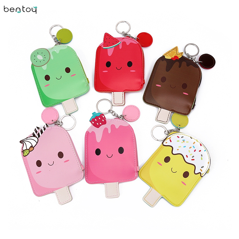 Ice popsicle women small wallet bag cartoon clutch zipper bag mini kid coin purse key ring money purse Gift For Girl
