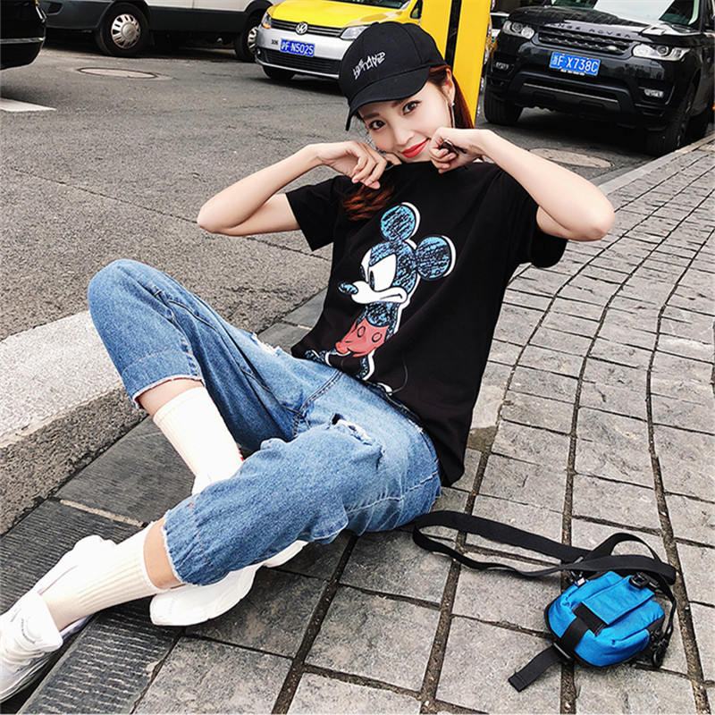 2019 Summer New Women's T-shirt Fashion Casual Mickey Mouse Printing Round Neck Short Sleeve Loose Female Tshirts 4