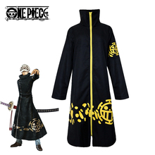2019 New Fashion  Anime One Piece Cosplay Trafalgar Law Two Years Later Costume Adult Black Cloak Mens Halloween Coat