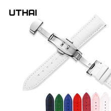 Uthai z09 mais pulseiras de couro genuíno 12-24mm relógio universal borboleta fivela de aço correia de pulso pulseira + ferramenta