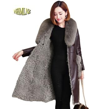 Лисий мех воротника натуральной кожи куртка 2019 Новинка зимы модные Дубленки удобные шерсть Для женщин из натуральной кожи куртка LH39