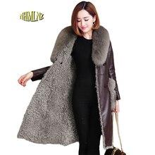 Fox fur collar Genuine Leather Jacket 2017 Winter New Fashion Shearling Comfortable Wool Women Genuine Leather Jacket LH39