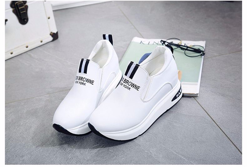 Shoes Women High Top Autumn Quality Leather Wedges Casual Shoes Height Increasing Slip On Ladies Shoes Trainers Size 35-39 YD139 (30)