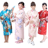 Child Novelty Cosplay Floaral Dress Japanese Kimono Baby Vintage Yukata Dress Girl Obi Vintage Japanese Traditional Costume 89