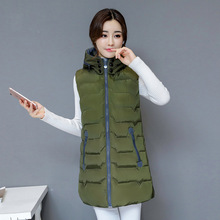2019 autumn and winter new womens vest large size slim hooded jacket down cotton
