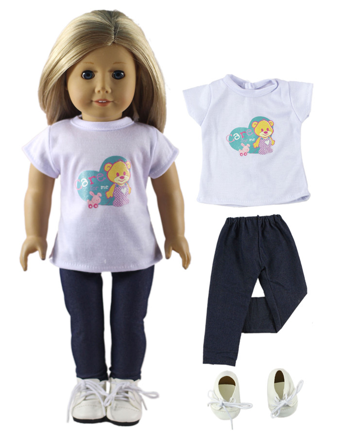 Hot Sell  New Style Whtie Casual Wear Clothes+White Shoes for 18 Inch American Girl new style 10 set doll clothes for 18 inch american girl handmade casual wear