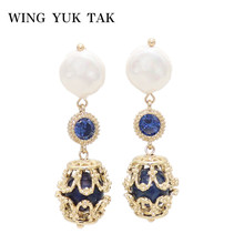Fashion Luxury Charm Simulated Pearl Earrings For Women Vintage Blue Natural Stone Drop Jewelry 2019